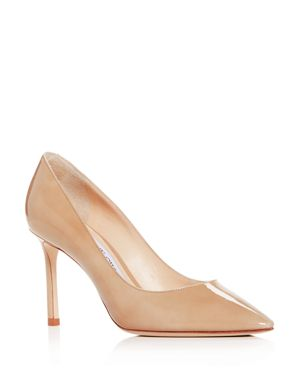 JIMMY CHOO WOMEN'S ROMY 85 PATENT LEATHER POINTED TOE PUMPS