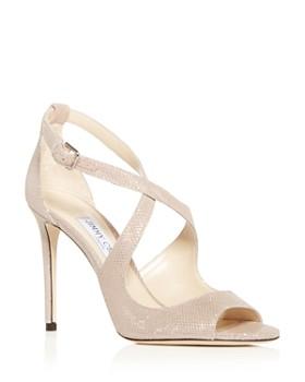 Jimmy Choo - Women's Emily 85 Glitter Suede Crisscross High-Heel Sandals