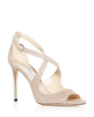 5904ba7646ce Jimmy Choo Women S Emily 85 Glitter Leather Crisscross High-Heel Sandals In Ballet  Pink