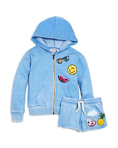 Play Six Girls' Graphic Patch Zip Hoodie & Shorts - Little Kid - Bloomingdale's_0