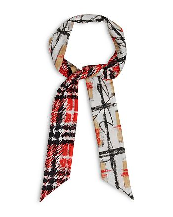 Burberry - Scribble Check Silk Skinny Scarf