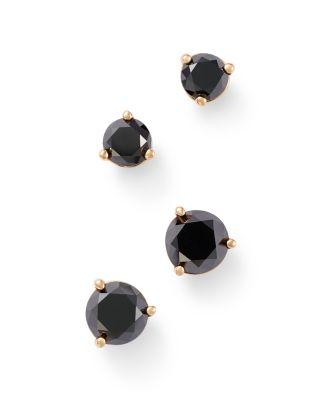 Black Diamond Stud Earrings in 14K Yellow Gold, 0.50 ct. t.w. - 100% Exclusive