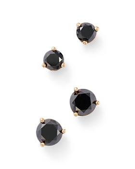 Bloomingdale S Black Diamond Stud Earrings In 14k Yellow Gold 0 50 1 Ct