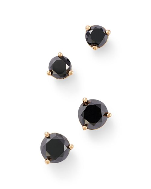 Bloomingdale's - Black Diamond Stud Earrings in 14K Yellow Gold, 0.50 - 1.0 ct. t.w. - 100% Exclusive