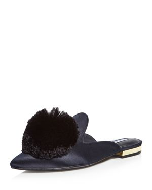 Women'S Wella Satin Pom-Pom Pointed Toe Mules, Black Satin