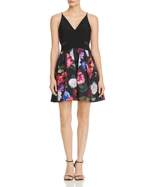 AQUA - Mixed-Media Mini Dress - 100% Exclusive
