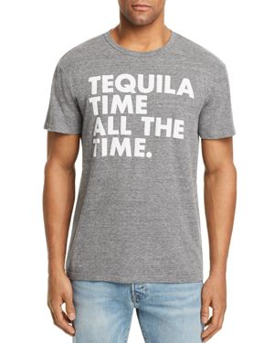 CHASER Men'S Tequila Time Crewneck Tee in Gray