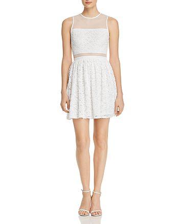 AQUA - Mesh-Inset Lace Dress - 100% Exclusive