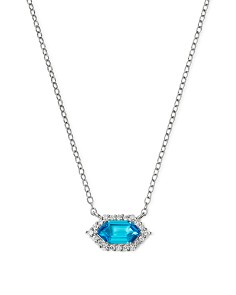 """Bloomingdale's - Blue Topaz & Diamond Hexagon Pendant Necklace in 14K White Gold, 17"""" - 100% Exclusive"""