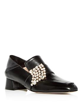 Stuart Weitzman - Women's Irises Embellished Leather Block Heel Loafers