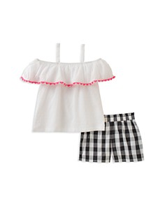 kate spade new york Girls' Off-the-Shoulder Top & Gingham Shorts Set - Little Kid - Bloomingdale's_0