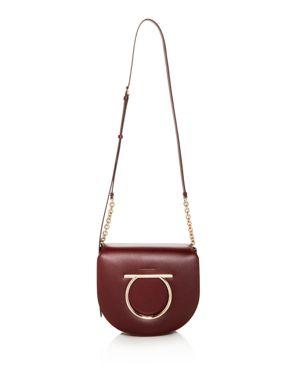 Vela Medium Leather Shoulder Bag, Wine Red/Gold