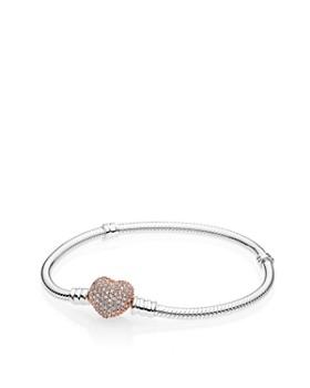 PANDORA - Rose Sterling Silver Pave Heart Bracelet