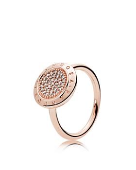 PANDORA - Rose Gold-Tone Sterling Silver Signature Statement Ring
