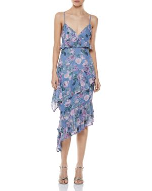 HERE AND NOW ASYMMETRIC FLORAL MIDI DRESS