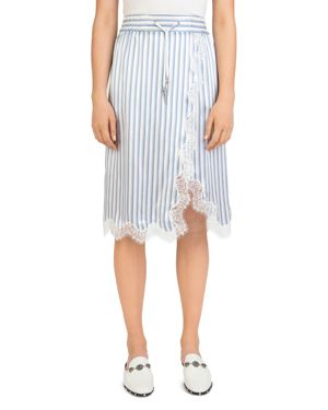 The Kooples Lace-Trim Striped Silk Skirt