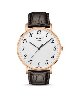 EVERYTIME LEATHER STRAP WATCH, 42MM
