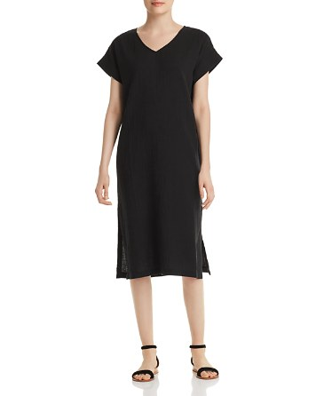 Eileen Fisher Petites Silk V-Neck Dress
