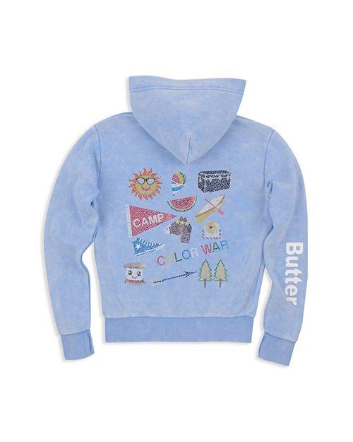 Butter - Girls' Fleece Mineral Wash Embellished Camp Hoodie - Little Kid