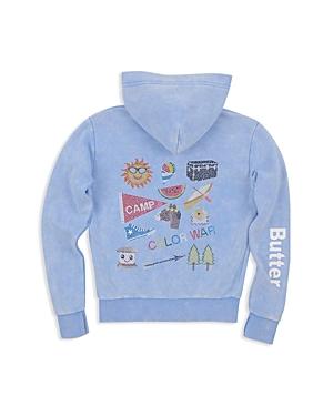 Butter Girls' Fleece Mineral Wash Embellished Camp Hoodie - Little Kid