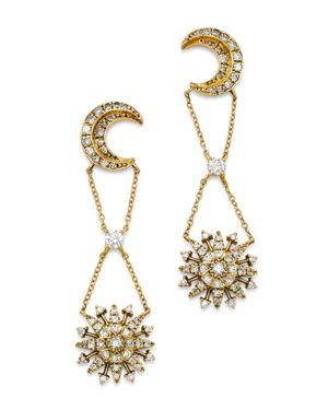 SUEL BLACKENED 18K YELLOW GOLD NIGHT BLOSSOM DIAMOND DROP EARRINGS