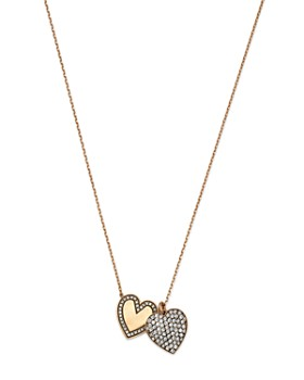 "SUEL - Blackened 18K Yellow Gold Twin Heart Diamond Necklace, 27"""