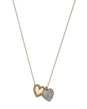 SUEL BLACKENED 18K YELLOW GOLD TWIN HEART DIAMOND NECKLACE, 27