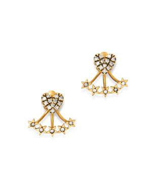 SUEL Blackened 18K Yellow Gold Heart & Star Diamond Ear Jackets in White/Gold