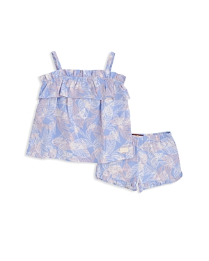 7 For All Mankind Girls PalmPrint Ruffled Cami  Shorts Set  Little Kid