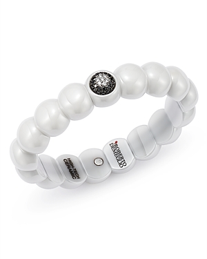 Roberto Demeglio 18K White Gold & White Ceramic Dama Stretch Bracelet with Black & White Diamonds