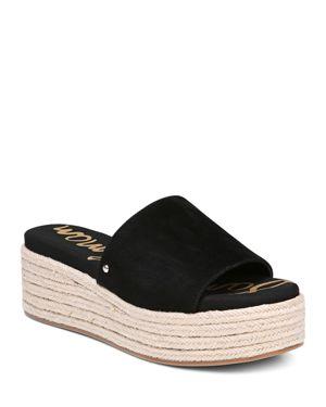 Women'S Weslee Suede Espadrille Slide Sandals, Black Suede