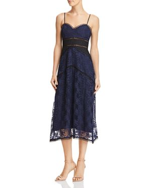 SAU LEE Brielle Floral-Embroidered Dress in Navy