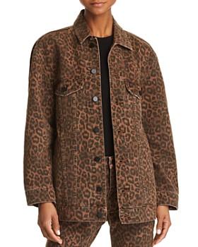 alexanderwang.t - Daze Oversize Denim Jacket in Tan Leopard
