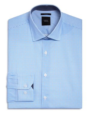 WRK Gingham Diamond Slim Fit Dress Shirt in Blue