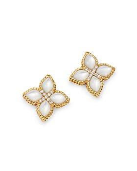 Roberto Coin - 18K Yellow Gold Venetian Princess Mother-Of-Pearl & Diamond Earrings