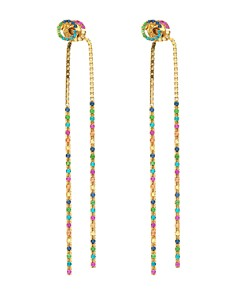 Gucci 18K Yellow Gold Running G Mixed Gemstone Long Drop Earrings - Bloomingdale's_0