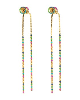 Gucci - 18K Yellow Gold Running G Mixed Gemstone Long Drop Earrings