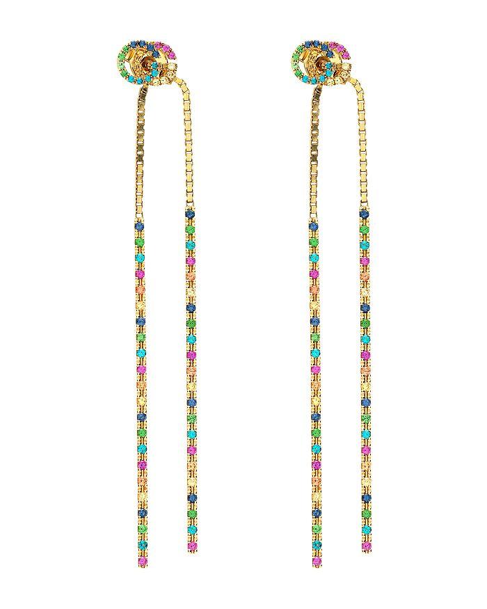 Gucci - 18K Yellow Gold Running G Mixed Gemstone Long Drop Earrings