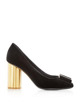 Salvatore Ferragamo - Women's Capua Velvet Floral Heel Pumps