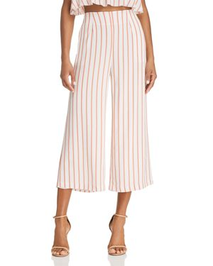 SAGE THE LABEL Sage The Label Aurelia Striped Cropped Wide-Leg Pants in Coral