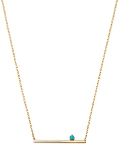 """Zoë Chicco - 14K Yellow Gold Turquoise & Bar Pendant Necklace, 16"""""""