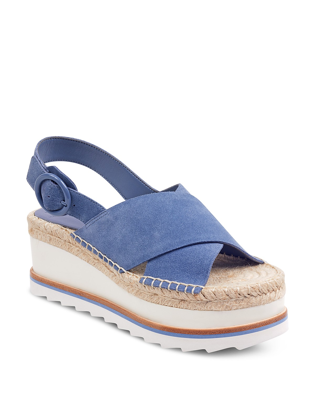 MARC FISHER Women's Glenna Suede Slingback Espadrille Platform Sandals OaKR1