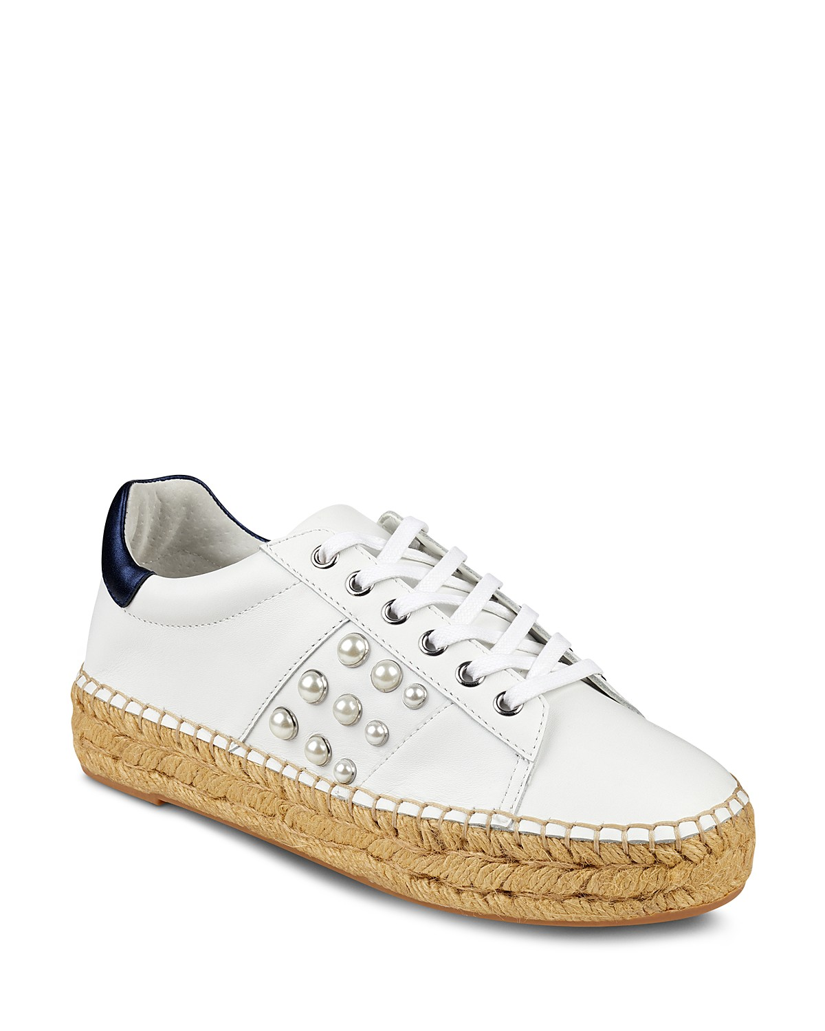 MARC FISHER Women's Marge Leather Lace-Up Espadrille Sneaker ovaH8z6nz