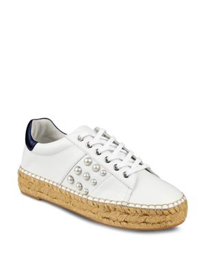MARC FISHER LTD. WOMEN'S MARGE LEATHER LACE-UP ESPADRILLE SNEAKER