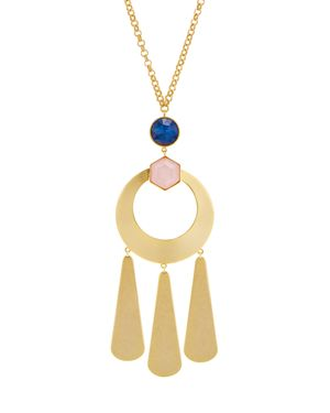 "Kate Spade New York Gold-Tone Multi-Stone Sculptural 32"" Pendant Necklace, Gold/Multi"