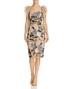 Bronx And Banco TUNISIA FLORAL EMBROIDERED SEQUIN DRESS