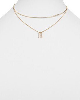 Moon & Meadow - Diamond Wire Collar & Chain Layered Necklace in 14K Yellow Gold, 0.32 ct. t.w. - 100% Exclusive
