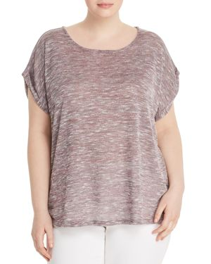 B Collection by Bobeau Curvy Mia Marled Sweater-Knit Tee