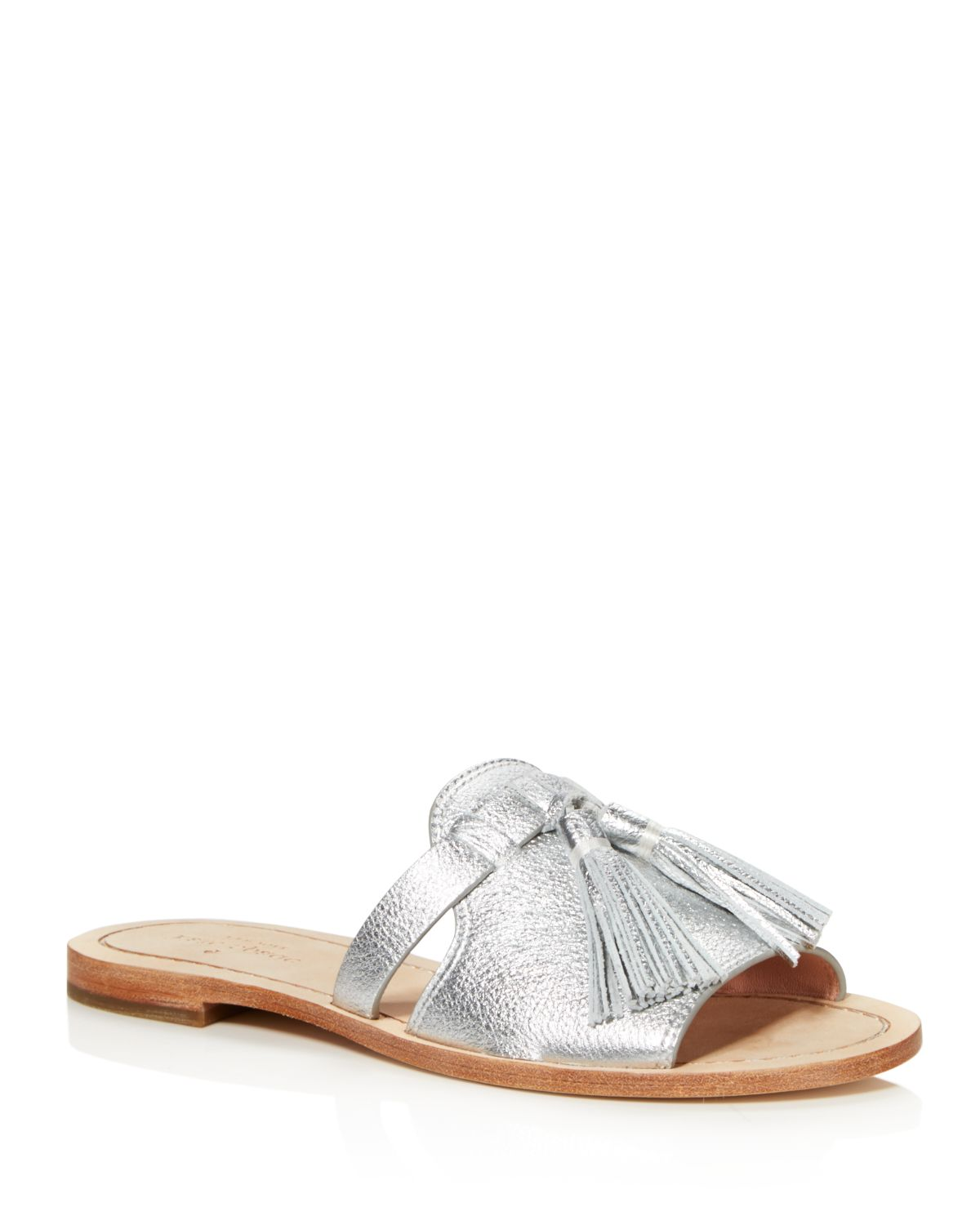 Kate Spade New York Women's Coby Metallic Leather Tassel Slide Sandals