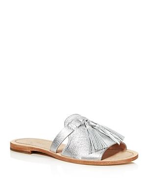 kate spade new york Women's Coby Metallic Leather Tassel Slide Sandals